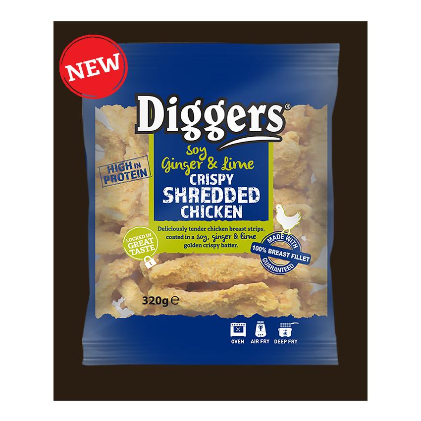 New DIGGERS SOY, GINGER & LIME CRISPY SHREDDED CHICKEN